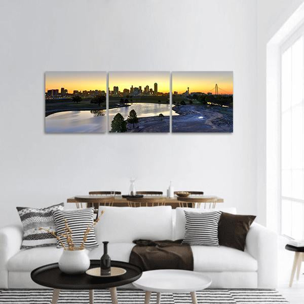 Dallas Skyline With Trinity River Panoramic Canvas Wall Art 1 Piece / Small Tiaracle
