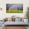 Dandelion Field With Rainbow Multi Panel Canvas Wall Art 5 Horizontal / Small / Gallery Wrap Tiaracle