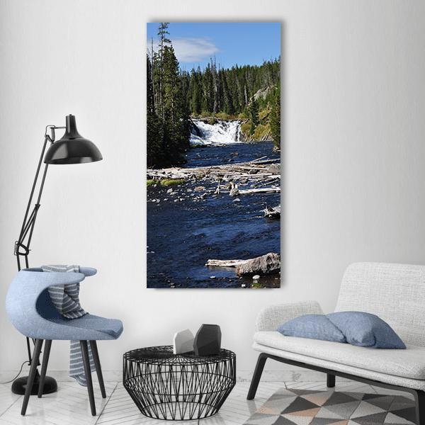 Day View Of Yellowstone National Park Waterfall Vertical Canvas Wall Art 3 Vertical / Small / Gallery Wrap Tiaracle