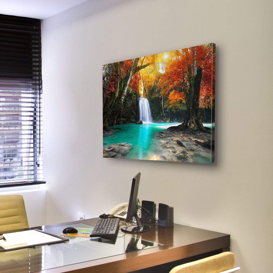 Deep Forest Waterfall Canvas Panel Painting Tiaracle