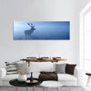 Deer Stag In Autumn Mist Panoramic Canvas Wall Art 1 Piece / Small Tiaracle