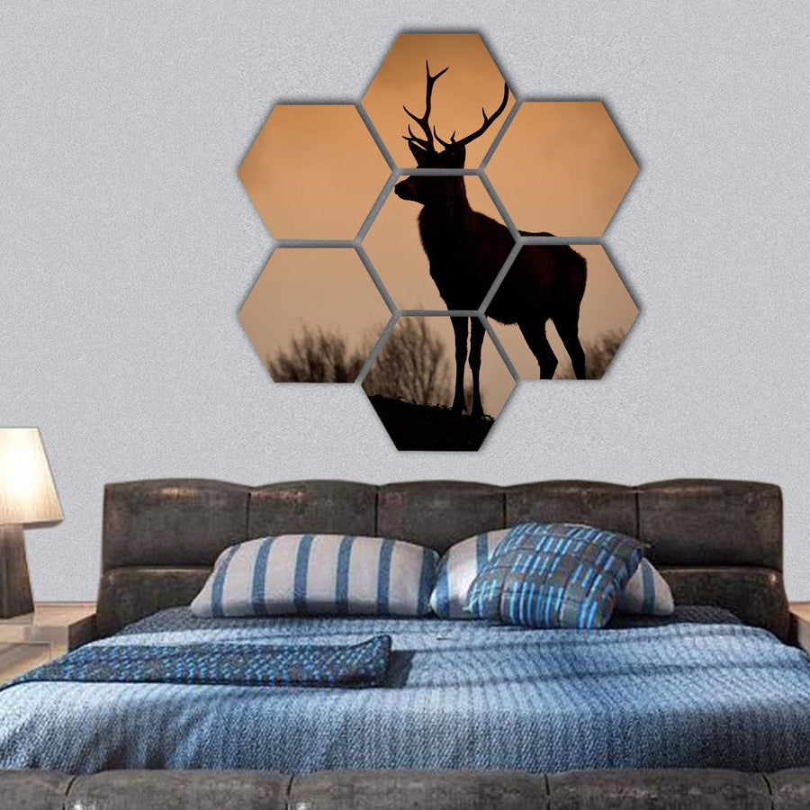Deer Stag Silhouetted On Mountain Ridge Hexagonal Canvas Wall Art 1 Hexa / Small / Gallery Wrap Tiaracle