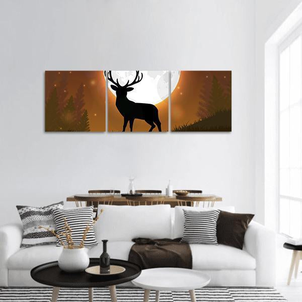 Deer Standing On A Hill At Night Panoramic Canvas Wall Art Tiaracle