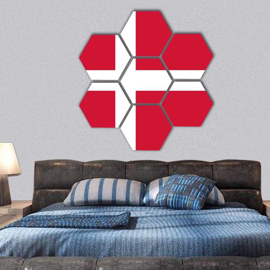 Denmark Flag Hexagonal Canvas Wall Art 1 Hexa / Small / Gallery Wrap Tiaracle