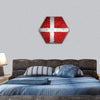 Denmark Flag Painted On A Brick Wall Hexagonal Canvas Wall Art 1 Hexa / Small / Gallery Wrap Tiaracle