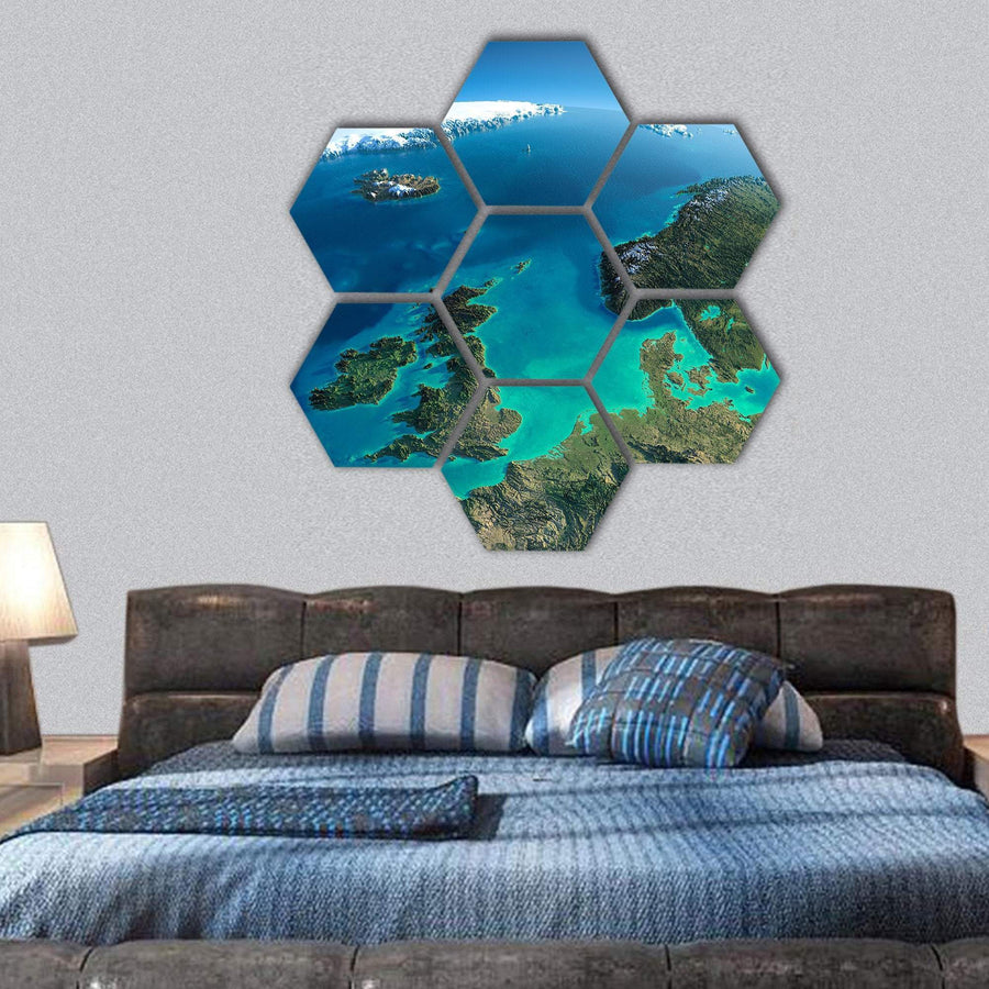 Denmark Map View From Satellite Hexagonal Canvas Wall Art 1 Hexa / Small / Gallery Wrap Tiaracle