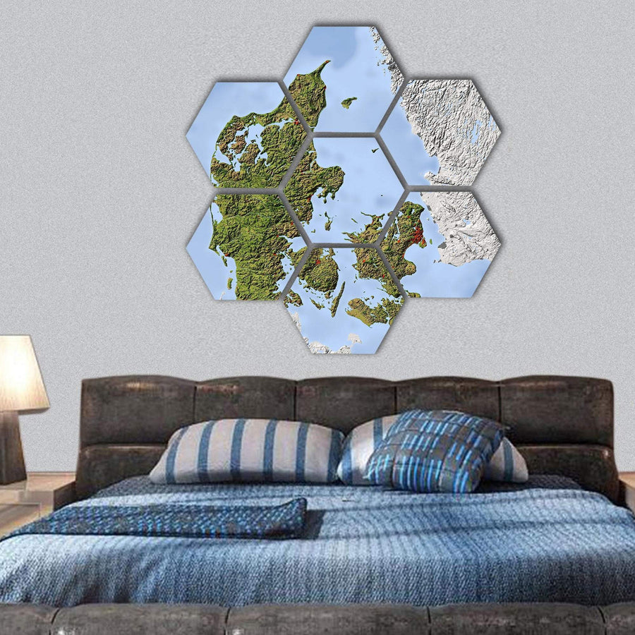 Denmark Shaded Relief Map Hexagonal Canvas Wall Art 1 Hexa / Small / Gallery Wrap Tiaracle