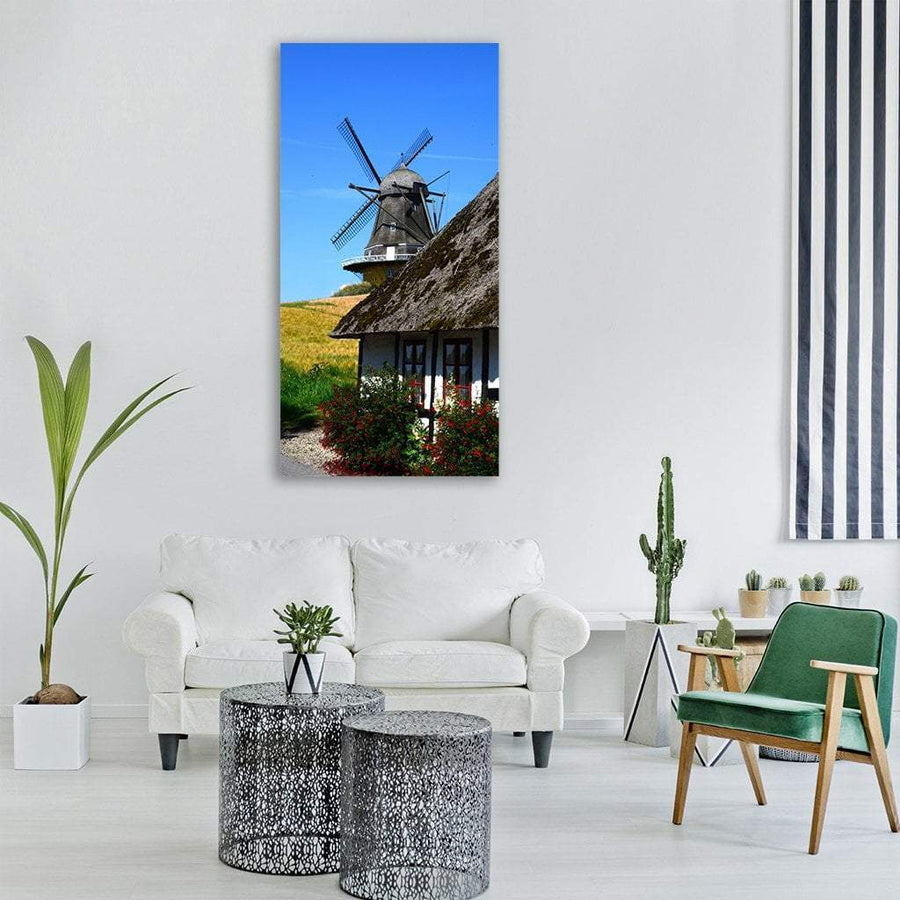 Denmark Windmill In Summer Vertical Canvas Wall Art 3 Vertical / Small / Gallery Wrap Tiaracle