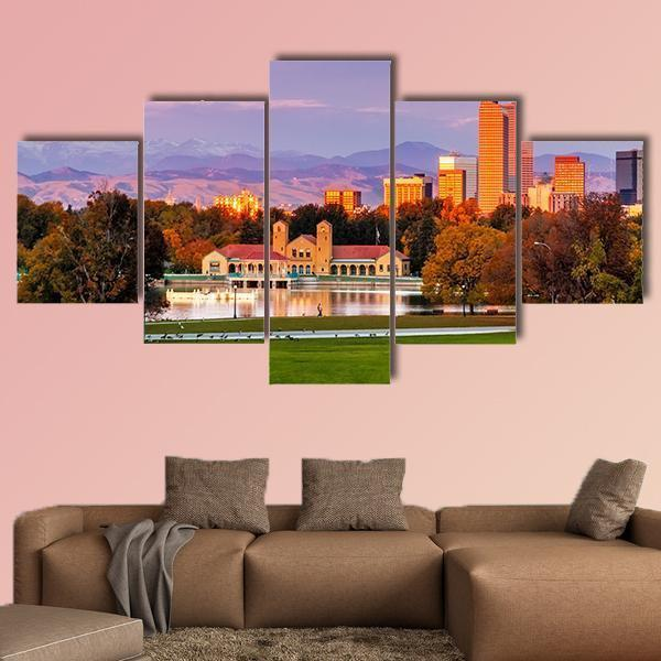 Denver Colorado Skyline From City Park Multi Panel Canvas Wall Art 3 Pieces / Medium / Canvas Tiaracle