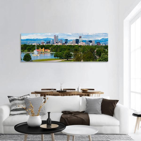 Denver Skyline With City Park Panoramic Canvas Wall Art 3 Piece / Small Tiaracle