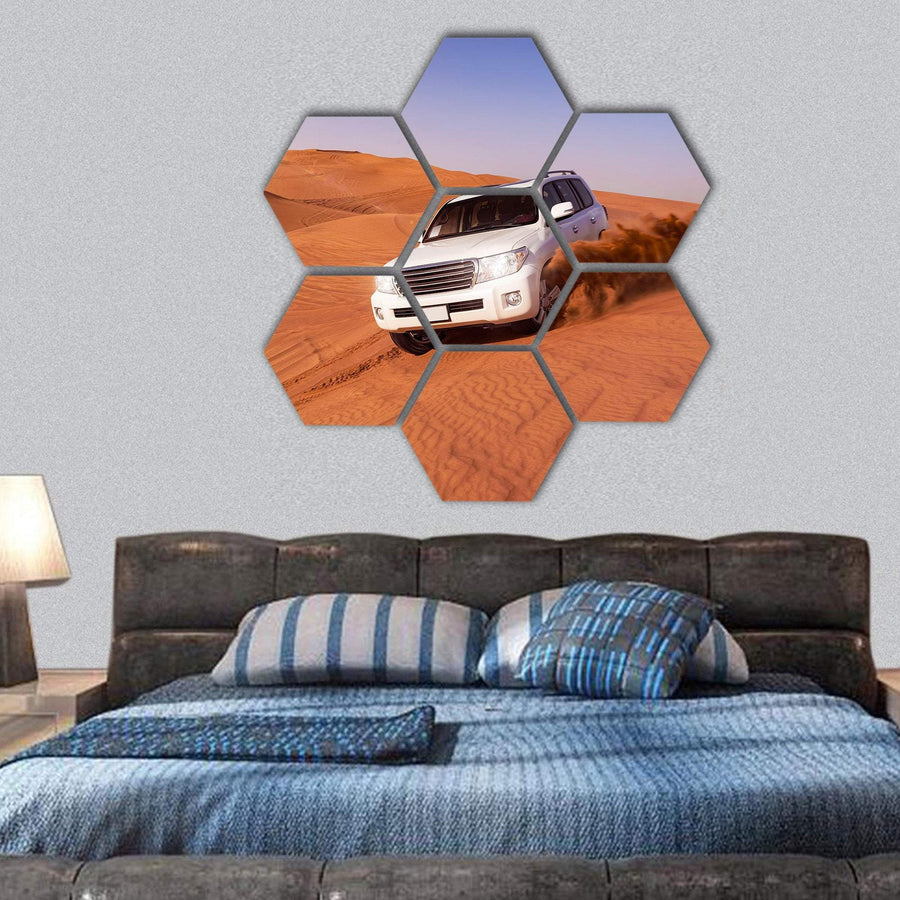 Desert SUVs Bashing Hexagonal Canvas Wall Art 1 Hexa / Small / Gallery Wrap Tiaracle
