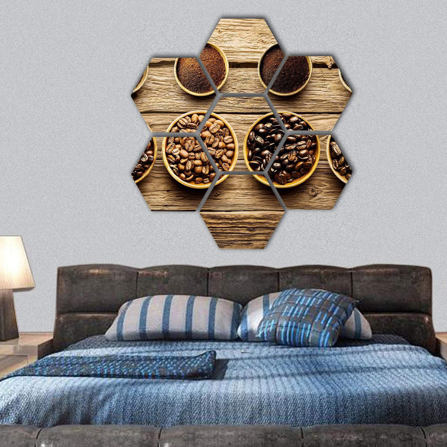 Different Coffee Beans With Their Powder Hexagonal Canvas Wall Art 1 Hexa / Small / Gallery Wrap Tiaracle