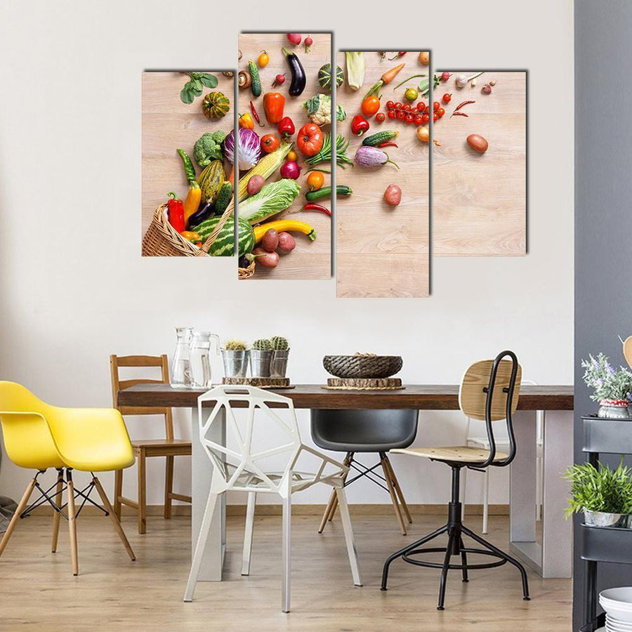 Different Fruits And Vegetables On Wooden Table Canvas Panel Painting Tiaracle