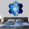 DNA Molecule In Crystal Blue Water Hexagonal Canvas Wall Art 7 Hexa / Small / Gallery Wrap Tiaracle