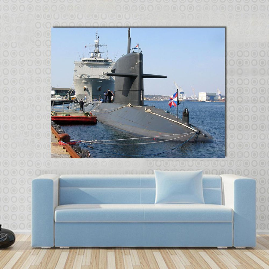Beautiful Docked Submarine Canvas Panel Painting Tiaracle