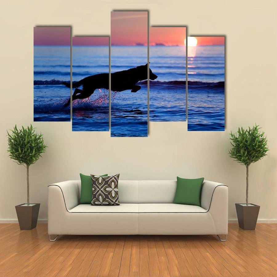 Dog Running On Water Against Sunset Multi Panel Canvas Wall Art 4 Pieces / Medium / Canvas Tiaracle