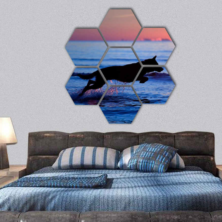 Dog Running On Water Against Sunset Hexagonal Canvas Wall Art 1 Hexa / Small / Gallery Wrap Tiaracle