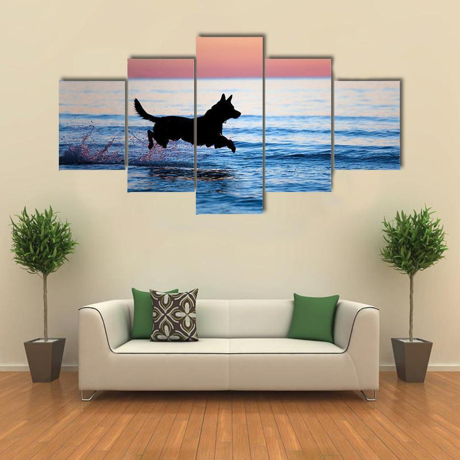 Dog Running On Water Against Horizon Multi Panel Canvas Wall Art 3 Pieces / Small / Gallery Wrap Tiaracle