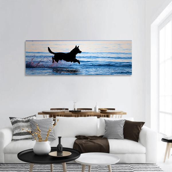 Dog Running On Water Panoramic Canvas Wall Art Tiaracle