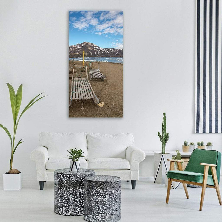 Dog Sled In Greenland Vertical Canvas Wall Art
