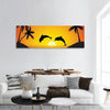 Dolphin Jumping At Sunset Panoramic Canvas Wall Art 1 Piece / Small Tiaracle