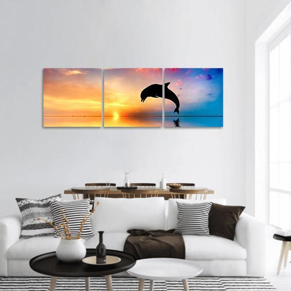 Dolphin Silhouette At Sunset Panoramic Canvas Wall Art 1 Piece / Small Tiaracle