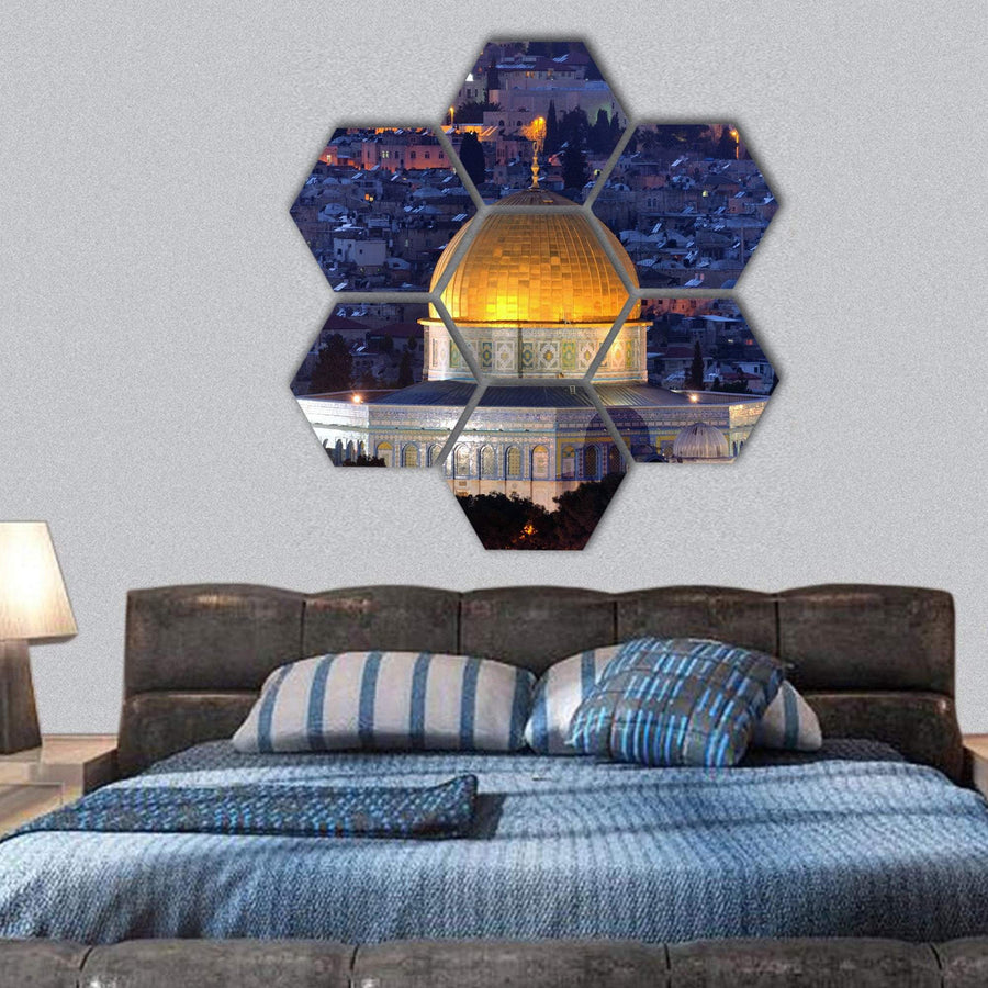 Dome Of Rock Along Skyline Of Jerusalem Hexagonal Canvas Wall Art 1 Hexa / Small / Gallery Wrap Tiaracle