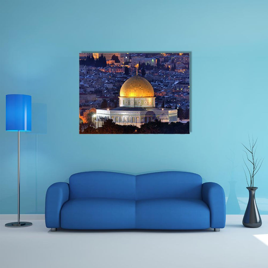 Dome Of Rock, Jerusalem Multi Panel Canvas Wall Art 5 Horizontal / Small / Gallery Wrap Tiaracle
