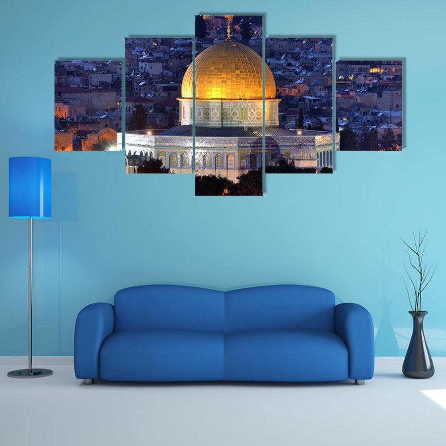 Dome Of Rock Along Skyline Of Jerusalem Multi Panel Canvas Wall Art 3 Pieces / Medium / Canvas Tiaracle