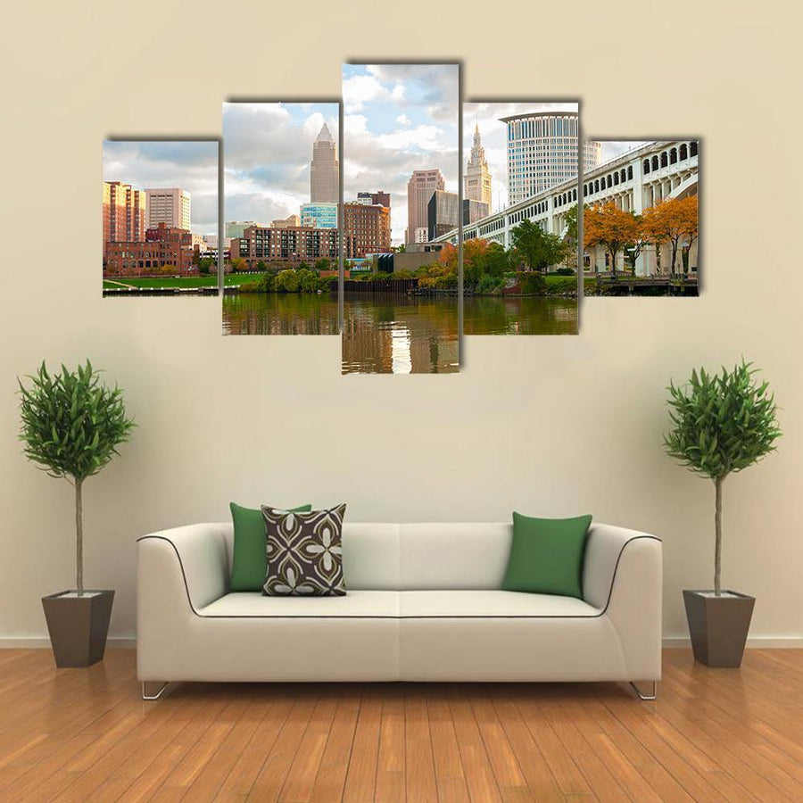 Downtown Cleveland Ohio Multi Panel Canvas Wall Art 1 Piece / Medium / Canvas Tiaracle