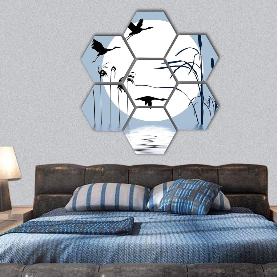 Drawing Of Flying Birds Hexagonal Canvas Wall Art 1 Hexa / Small / Gallery Wrap Tiaracle