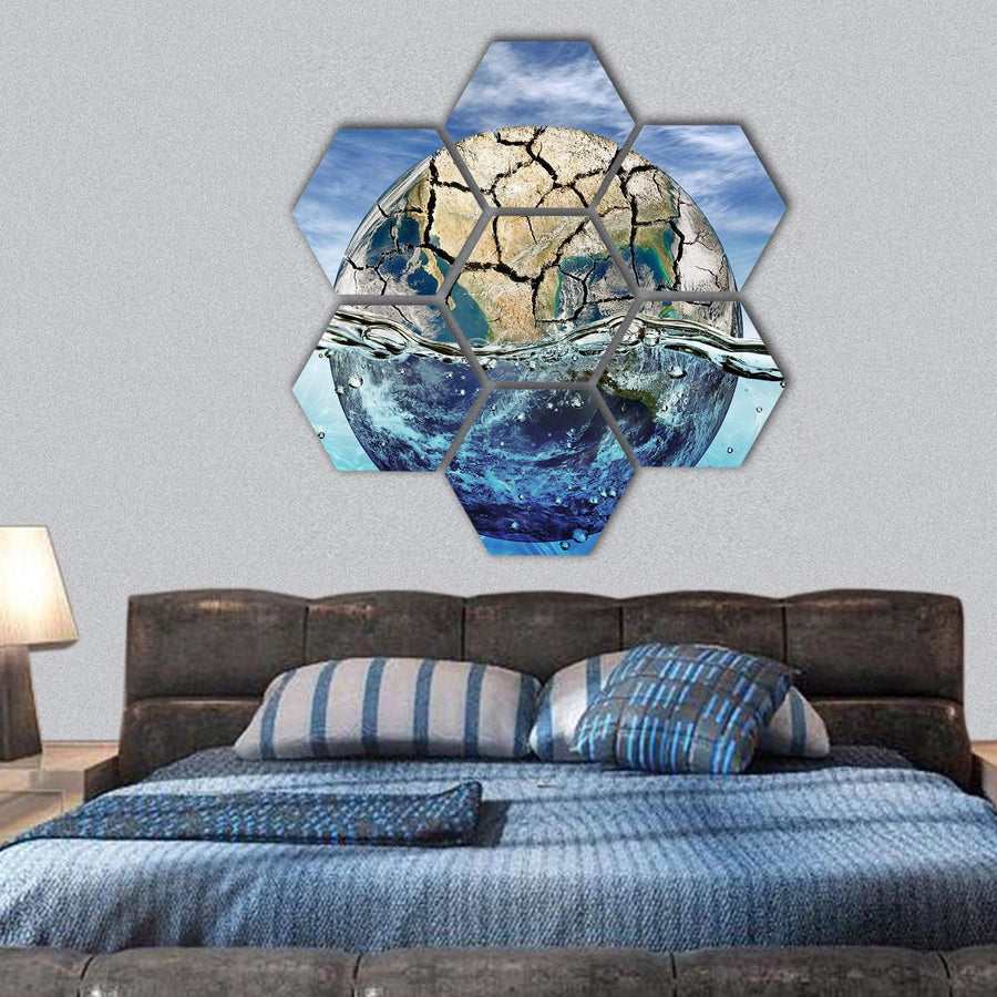 Dried Up Planet Immersed In Waters Hexagonal Canvas Wall Art 1 Hexa / Small / Gallery Wrap Tiaracle