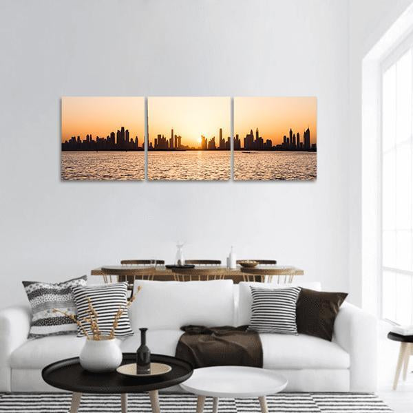 Dubai Cityscape At Sunset Panoramic Canvas Wall Art 1 Piece / Small Tiaracle