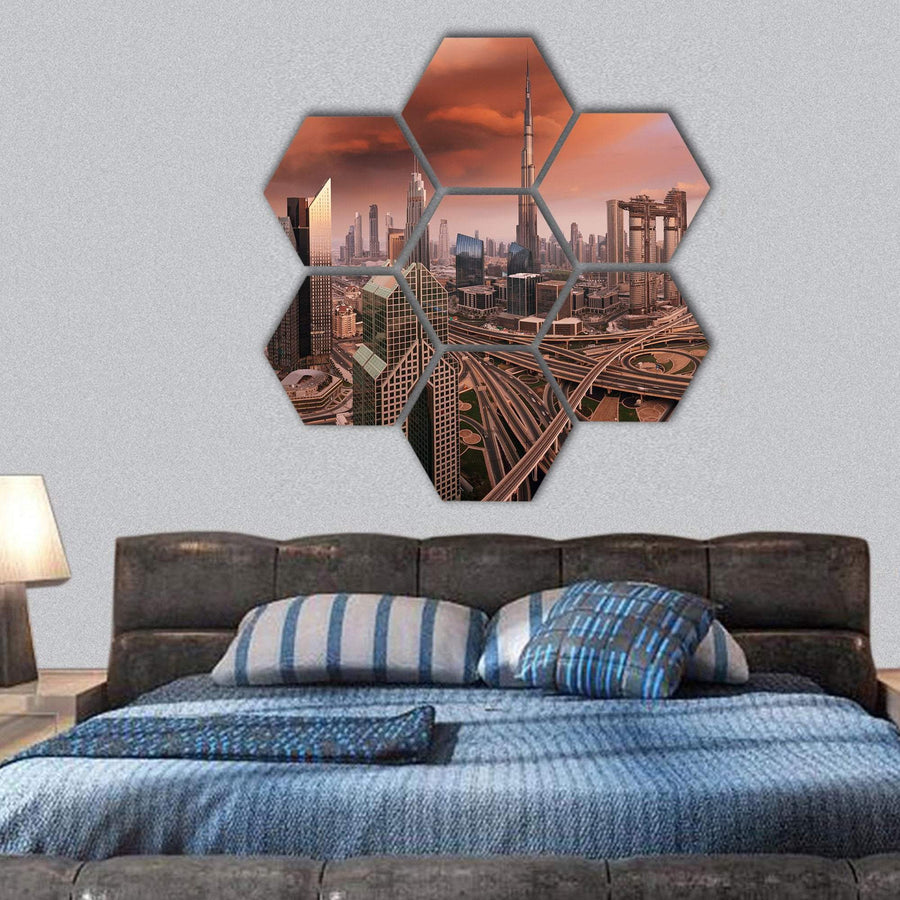 Dubai Skyline Hexagonal Canvas Wall Art 1 Hexa / Small / Gallery Wrap Tiaracle