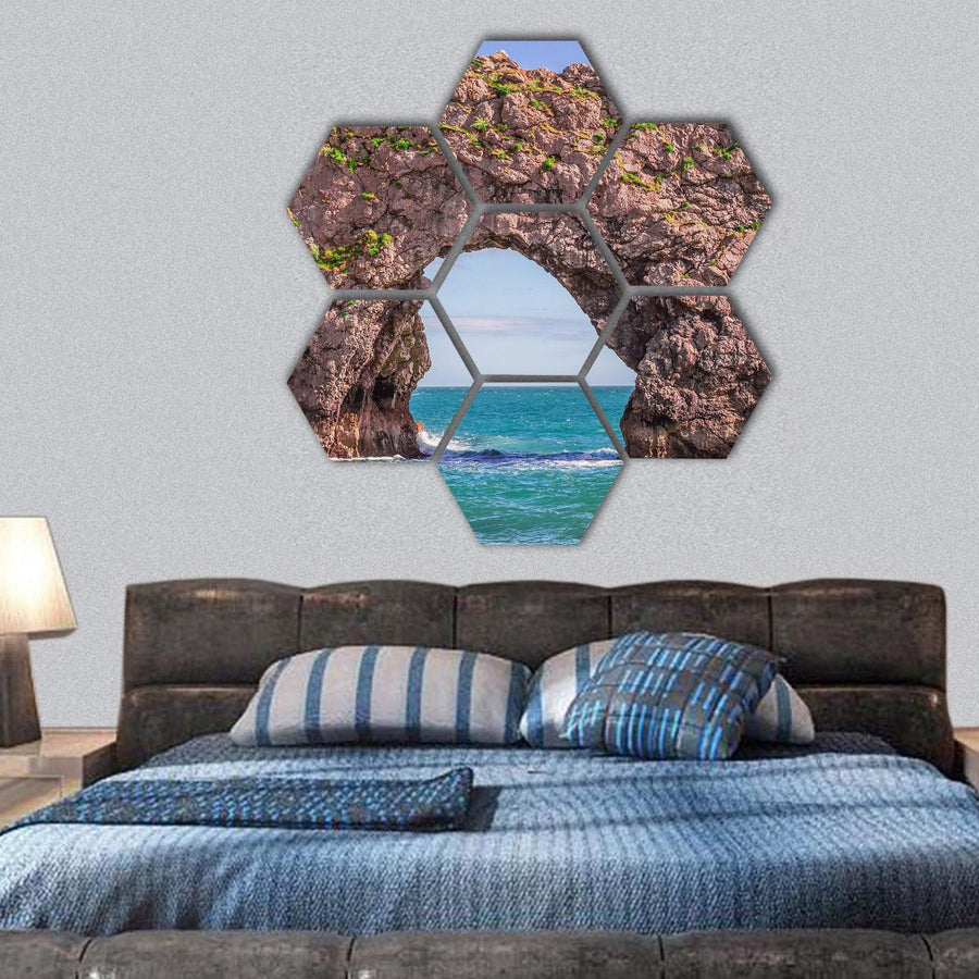 Durdle Door From The Cliff Hexagonal Canvas Wall Art 1 Hexa / Small / Gallery Wrap Tiaracle