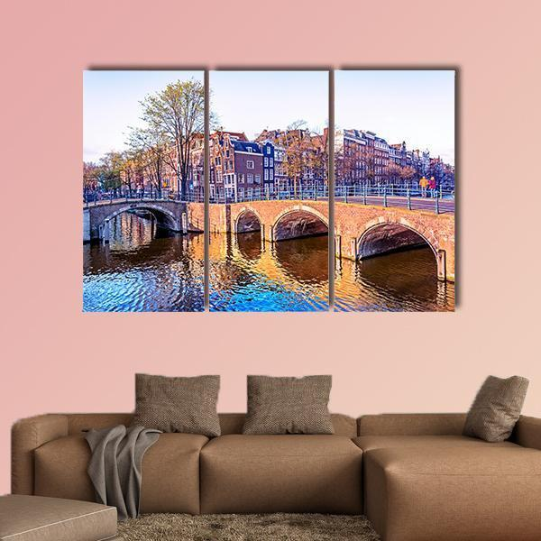 Dutch Houses And Old Bridges In Amsterdam Multi Panel Canvas Wall Art 5 Pieces(A) / Medium / Canvas Tiaracle