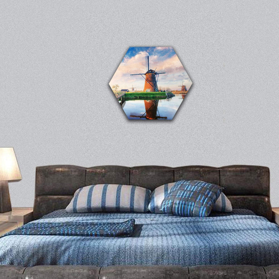 Dutch Windmills From Channel Rotterdam Hexagonal Canvas Wall Art 7 Hexa / Small / Gallery Wrap Tiaracle