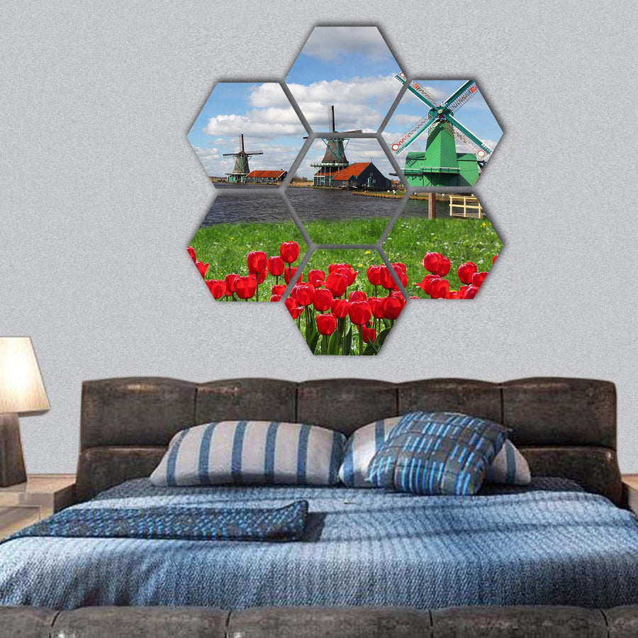 Dutch Windmills With Red Tulips In Amsterdam Hexagonal Canvas Wall Art 1 Hexa / Small / Gallery Wrap Tiaracle