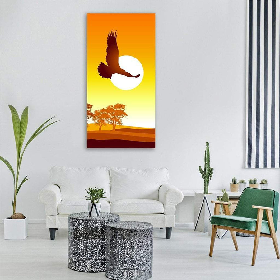 Eagle Flying At Sunrise Vertical Canvas Wall Art 3 Vertical / Small / Gallery Wrap Tiaracle