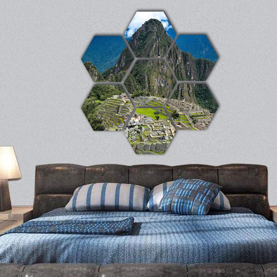 Early Morning At Machu Picchu Hexagonal Canvas Wall Art 1 Hexa / Small / Gallery Wrap Tiaracle