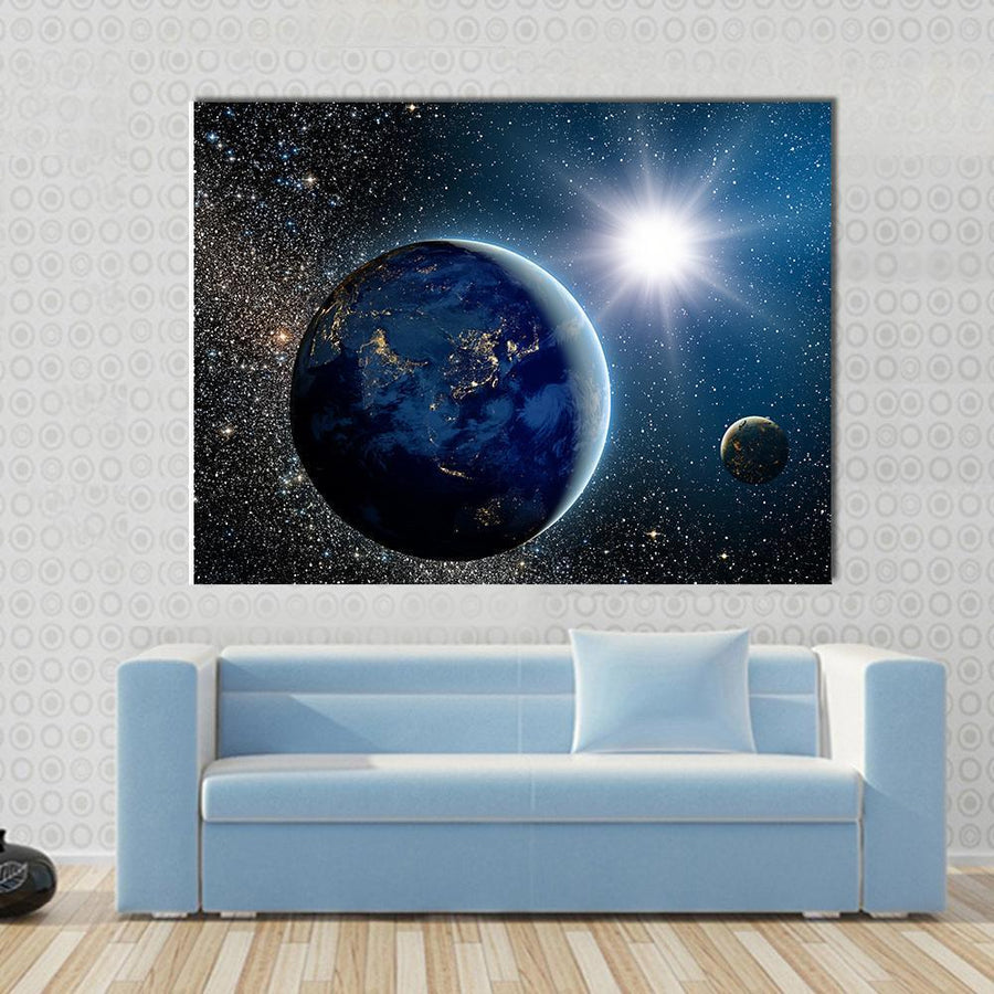 Beautiful View Of Earth, Sun and Moon Canvas Panel Painting Tiaracle