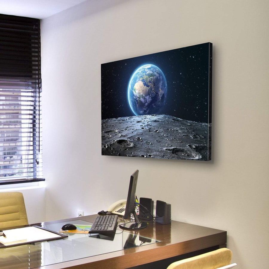 Earth View From Asteroid In Space Canvas Panel Painting Tiaracle