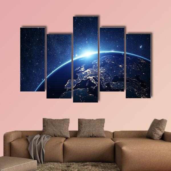 Earth From Space Multi Panel Canvas Wall Art 3 Pieces / Small / Canvas Tiaracle
