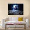 Earth View From Asteroid In Space Multi Panel Canvas Wall Art 1 Piece / Small / Gallery Wrap Tiaracle