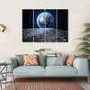 Earth View From Asteroid In Space Multi Panel Canvas Wall Art 4 Horizontal / Small / Gallery Wrap Tiaracle