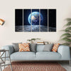 Earth View From Asteroid In Space Multi Panel Canvas Wall Art 5 Horizontal / Small / Gallery Wrap Tiaracle
