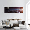 Earth With Moon And Stars Panoramic Canvas Wall Art 1 Piece / Small Tiaracle
