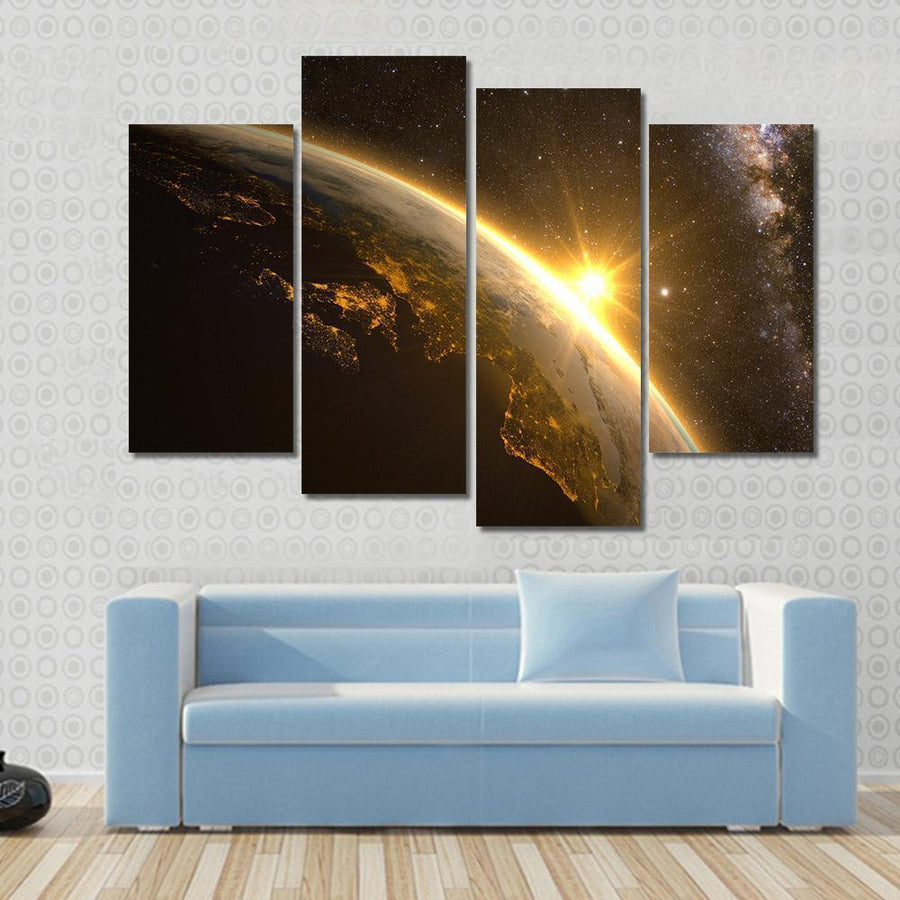 Earth, Sun and Milky Way Canvas Panel Painting Tiaracle