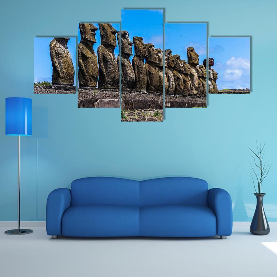 Easter Island In Chile Multi Panel Canvas Wall Art 4 Pieces / Medium / Canvas Tiaracle