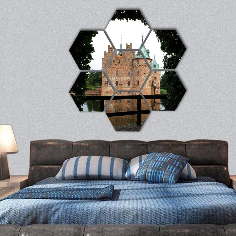Egeskov Castle In Funen Denmark Hexagonal Canvas Wall Art 1 Hexa / Small / Gallery Wrap Tiaracle